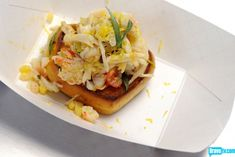 Oh Nicol and I could make ourselves sick on this!! King Crab, Sweet Corn & Leek Salad on Toast with Dungeness Crab Butter