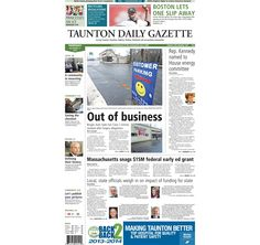 The front page of the Taunton Daily Gazette for Thursday, Dec. 11, 2014.