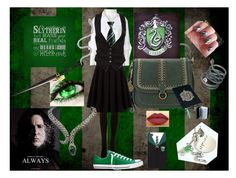 """Slytherin Style"" by choice-to-be ❤ liked on Polyvore featuring Bandana, SPANX, Croft & Barrow, George, LASplash, Greg Lauren, Converse, OBEY Clothing and BillyTheTree"