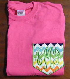 Preppy Personalized Monogrammed Chevron Fabric Pocket T-Shirt Tee Shirt Tee Short Sleeve Custom Boutique on Etsy, $19.99