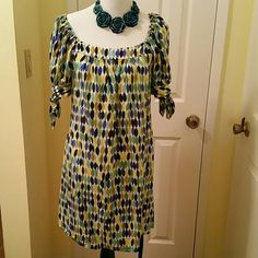 """Nannette Lepore tunic /dress Adorable multi-colored Nanette Lepore tunic or dress. This is missing the belt and priced accordingly. In the second picture, I show how I wore it with a silk belt from another dress. This is great with leggings and flats for a casual look. From middle of chest to hem 30"""" Nanette Lepore  Dresses"""