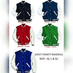 Jaket Baseball / Varsity Polos   Harga 78rb   dengan bahan yang berkualitas yaitu bahan fleece, kami sudah banyak dipercaya menjadi partner dalam pengadaan jaket baseball polos maupun sablon/bordir oleh berbagai kalangan seperti perusahaan, komunitas, sekolah/universitas dsb.