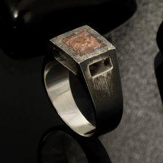 Rustic mens ring, Unique men's ring, Silver Signet ring, Mens Wedding Band, Unique Engagement Ring, Men wedding ring, Gift for men,  RS-1185