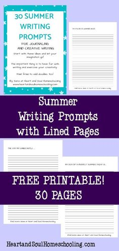 Creative Writing Prompts, Cool Writing, Writing Tips, Homeschool Blogs, Homeschooling, Lined Writing Paper, Writing Challenge, Summer Activities For Kids, Journal Prompts