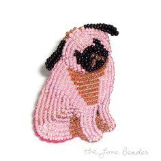 PINK PUG beaded keepsake dog art pin/ pendant by thelonebeader, $95.00