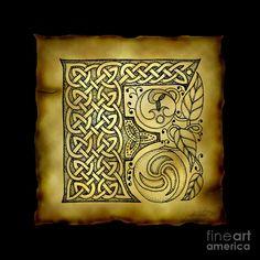 """Celtic Letter F"" by Kristen Fox, New York // An original, hand-drawn letter F… Celtic Symbols, Celtic Art, Celtic Knots, Framed Wall Art, Wall Art Prints, Fine Art Prints, Framed Prints, Canvas Prints, Celtic Patterns"