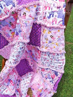 Princess Rag Quilt Pink Purple Perfect for a by RagQuiltsbyJulie