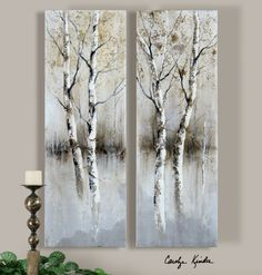 Uttermost Birch Tree Panels Wall Art Painting - Set Of 2 ( 41810 ) Birch Tree Art, Tree Wall Art, Birch Trees Painting, Tree Artwork, Abstract Tree Painting, Abstract Canvas, Oil Painting On Canvas, Watercolor Paintings, Tree Paintings