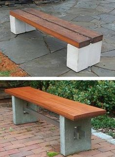 DIY Garden Benches and Tables Made with Cinder Blocks - - Concrete blocks and wood provide the ideal combination of materials for building inexpensive, durable, and comfortable benches and tables. Patio Furniture For Sale, Pallet Patio Furniture, Fairy Furniture, Concrete Furniture, Building Furniture, Outdoor Garden Bench, Outdoor Decor, Diy Garden Benches, Outdoor Benches