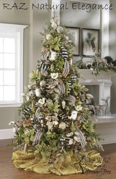 Mantel w deer and greens--RAZ Imports 2015 - Natural Elegance 1 Tree Black Christmas Trees, Beautiful Christmas Trees, Christmas Tree Themes, Elegant Christmas, Noel Christmas, Rustic Christmas, Xmas Tree, Xmas Decorations, Natural Christmas
