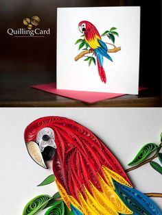Quilled Parrot - art by Quilling Card, via Facebook