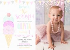 Ice Cream Birthday invitation Watercolor Ice cream