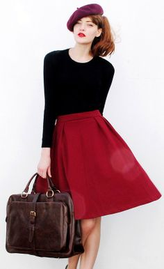 sleek #red midi skirt http://rstyle.me/n/je4q9r9te