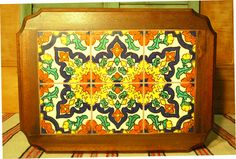 California tile table is vintage with 6 pieces of California tile set rectangularly. The tile is in excellent condition. Tile Top Tables, Bauer Pottery, Vintage Tile, Vintage California, Spanish Revival, Colour Board, Color, Thrown Pottery, Tile Art
