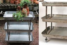 Metal 3-tier cart with wheels - From Antiquefarmhouse.com - http://www.antiquefarmhouse.com/current-sale-events/storage8/tin-3-tier-cart-with-wheels.html