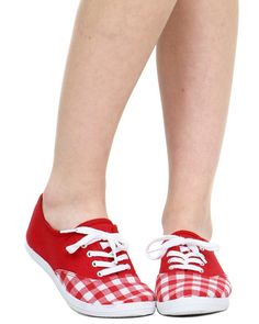 red solid and plaid tennis shoes at shopjeen.com