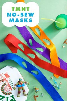 Craft DIY Ninja Turtle masks for your kid's next birthday party! Use this printable template to make one-piece, no-sew Teenage Mutant Ninja Turtle masks in the colors of all four turtles. That way, all the dudes at your kid's next TMNT birthday party can choose to be Leo, Raph, Donnie, or Mikey!