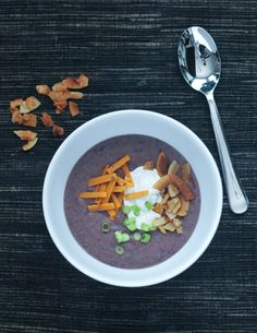Roasted Purple Potato Soup via @spabettie - a colorful antioxidant packed bowl of flavor!