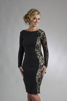 7990b4eadc927 Perlae Couture's Gold and Black Lace Cocktail Dress Black Lace Cocktail  Dress, Beautiful Figure,
