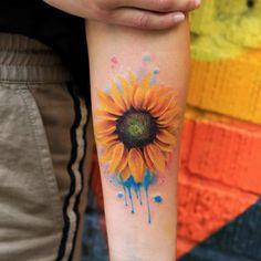 sunflower tattoo watercolor