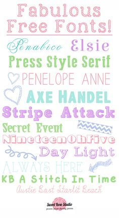 Fabulous Free Fonts at Sweet Rose Studio! #freebie #fonts