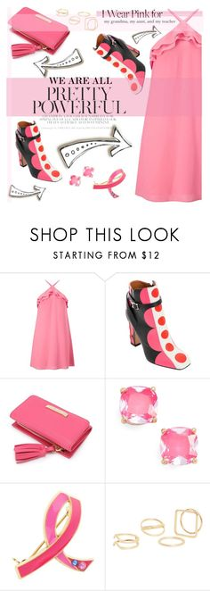 """We are Powerful- I WEAR PINK..."" by pianogirlzoe ❤ liked on Polyvore featuring Miss Selfridge, Kate Spade, Estée Lauder, MANGO and IWearPinkFor"