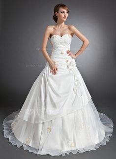 Wedding Dresses - $186.99 - Ball-Gown Sweetheart Cathedral Train Taffeta Organza Wedding Dress With Ruffle Lace Flower(s) (002015112) http://jjshouse.com/Ball-Gown-Sweetheart-Cathedral-Train-Taffeta-Organza-Wedding-Dress-With-Ruffle-Lace-Flower-S-002015112-g15112?ver=xdegc7h0
