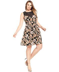 Trixxi Plus Size Floral-Print Skater Dress