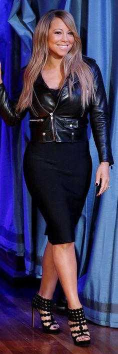 Who made  Mariah Carey's black leather jacket, black sandals, and black skirt that she wore in New York?
