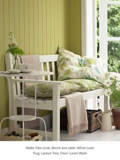Painted sun room in Little Greene paint colours 'Pale Lime', 'White Lead' and 'Linen Wash' #verf #groen #green