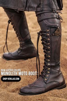 Monolith Moto Boots is part of Glitter nails Tutorial Shape - Clothing designed for creative people with delightful taste, Featuring Ayyawear! Mode Steampunk, Steampunk Fashion, Leather Armor, Leather Boots, Real Leather, Me Too Shoes, Men's Shoes, Shoe Boots, Moto Boots