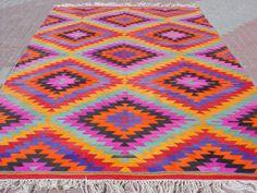 VINTAGE Turkish Area Rug Kilim Carpet Handwoven Rug by sofaART