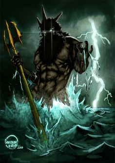 """POSEIDON. One of the twelveOlympian deitiesof the pantheon. His main domain was theocean, and he is called the """"God of the Sea""""."""