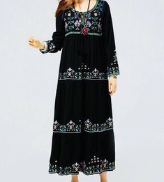 Excited to share the latest addition to my #etsy shop: Women cotton embroidered ankle length maxi dress, mexican maxi dress, boho bohemian gypsey maxi dress, vintage maxi dress, black long sleeve #dress