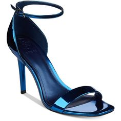 Guess Women's Celie Two-Piece Dress Sandals ($79) ❤ liked on Polyvore featuring shoes, sandals, blue metallic, blue strappy shoes, blue strappy sandals, metallic shoes, polish shoes and fancy sandal