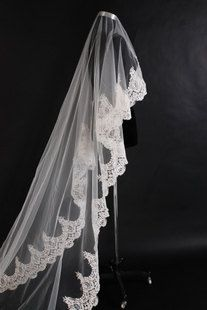 Custom Make Vintage White Ivory Wedding Veil Bridal One Tier Cathedral Floor Length Long Lace