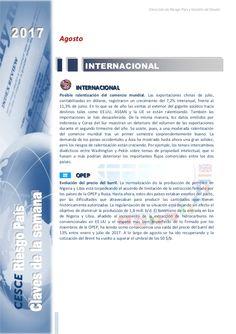 Resumen de las noticias internacionales más destacadas del 24 de julio al 3 de septiembre de 2017, elaborado por el departamento de Riesgo País de CESCE.
