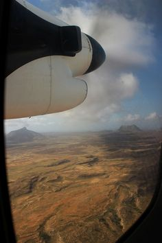 Flying over Boavista island, Cape Verde.