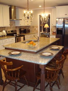 Table Height Island Design Ideas, Pictures, Remodel and Decor The Effective Pictures We Offer You Ab Chairs For Kitchen Island, Kitchen Island Storage, Kitchen Island With Seating, Island Chairs, Kitchen Islands, Kitchen Layout, New Kitchen, Kitchen Dining, Kitchen Orangery