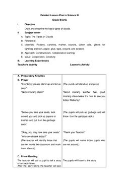 Detailed Lesson Plan in Science III Grade III-Arts I. Objective Draw and describe the basic types of clouds. Grade 1 Lesson Plan, Daily Lesson Plan, Science Lesson Plans, Teacher Lesson Plans, Kindergarten Lesson Plans, Free Lesson Plans, Lesson Plan Templates, Science Lessons, Lesson Plan Outline