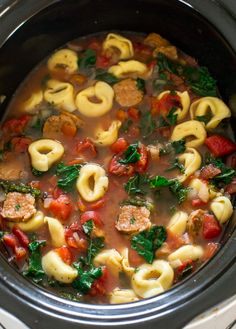 Slow Cooker Tortellini Sausage and Kale Soup. A super easy and delicious meal that takes only 10 minutes of prep time.