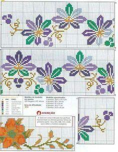 Cross Stitch Books, Cross Stitch Flowers, Cross Stitch Charts, Cross Stitch Patterns, Cross Stitch Borders, Cross Stitching, Pillowcase Pattern, Cross Stitch Designs, Embroidery Stitches