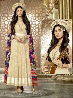 Fascinating beige color ankle length anarkali crafted on khadi having thread work. Item Code:SLANA1201 http://www.bharatplaza.com/new-arrivals/salwar-kameez.html