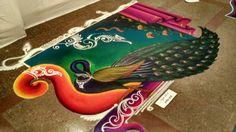 Easy Rangoli Designs Videos, Simple Rangoli Border Designs, Easy Rangoli Designs Diwali, Rangoli Designs Latest, Small Rangoli Design, Rangoli Ideas, Beautiful Rangoli Designs, Rangoli Painting, Rangoli Designs Peacock