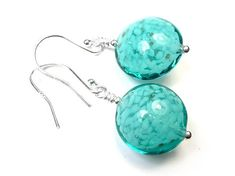 Murano Glass Lentil Earrings - Verde Cloud Murano Glass, Sterling Silver Jewelry, Jewelry Collection, Turquoise Bracelet, Dots, Clouds, Shapes, Beads, Bracelets