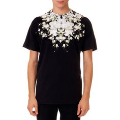 Givenchy Baby's Breath Printed Tee (51.170 RUB) ❤ liked on Polyvore featuring tops, t-shirts, black, black t shirt, crewneck tee, cotton t shirts, holiday t shirts and print t shirts