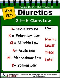RENAL MEDS - Diiuuretics Cause a Decrease of these labs so check your labs Magnesiium Sodium Chloride Potassium The nurses notes nursing kamp Study Sheets StickEnotes Nursing Lab Values, Nursing Labs, Med Surg Nursing, Study Nursing, Ob Nursing, Nursing School Notes, Best Nursing Schools, Rn Nurse, Nurse Life