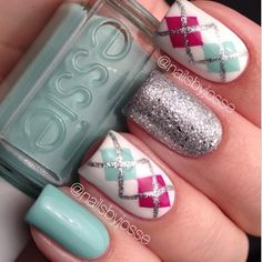 Plaid Nail Art ~~ Pretty pastels - mint + fuchia + white + silver #nails #manicure
