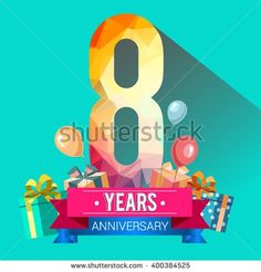 8 Years Anniversary celebration logo, 8th Anniversary celebration, with gift box and balloons, colorful polygonal design. - stock vector