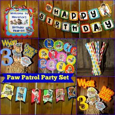 Paw Patrol Birthday Party Package - banner, toppers, centerpieces, garland, Door sign